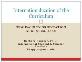 Internationalization of the Curriculum
