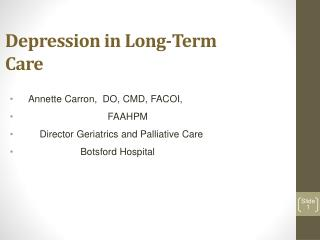 Depression in Long-Term  Care