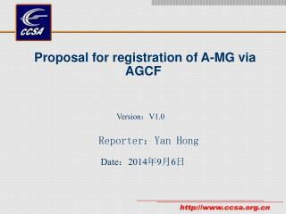 Proposal for registration of A-MG via AGCF