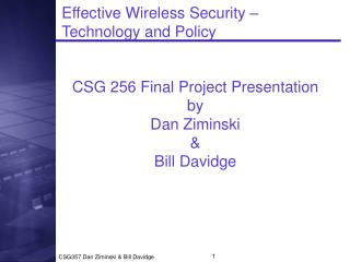 Effective Wireless Security –  Technology and Policy