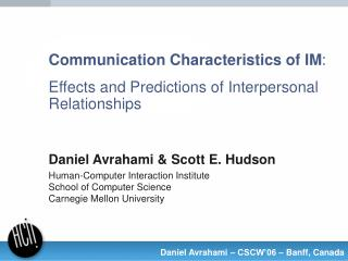 Communication Characteristics of IM : Effects and Predictions of Interpersonal Relationships