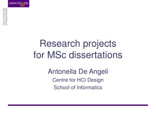Research projects for MSc dissertations