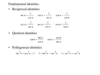Fundamental identities