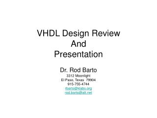 VHDL Design Review And Presentation