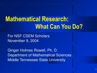 Mathematical Research: What Can You Do?