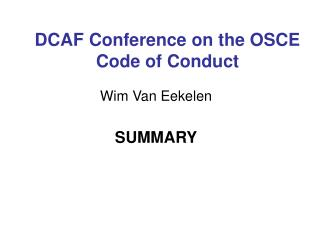 DCAF Conference on the OSCE Code of Conduct