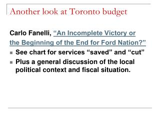 Another look at Toronto budget