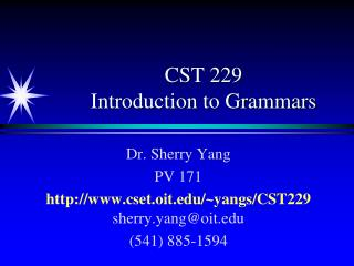 CST 229 Introduction to Grammars