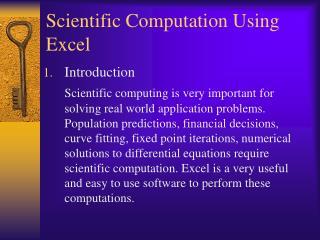 Scientific Computation Using Excel