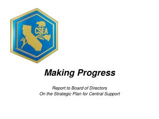 Making Progress Report to Board of Directors On the Strategic Plan for Central Support