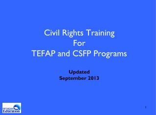 Civil Rights Training For  TEFAP and CSFP Programs