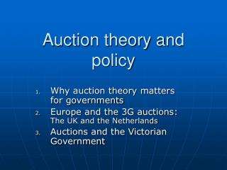 Auction theory and policy