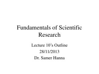 Fundamentals of Scientific Research