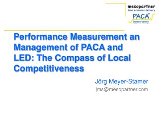 Performance Measurement an Management of PACA and LED: The Compass of Local Competitiveness