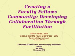 Creating a  Faculty Fellows Community: Developing Collaboration Through Facilitation
