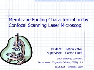 Membrane Fouling Characterization by Confocal  Scanning  Laser Microscop