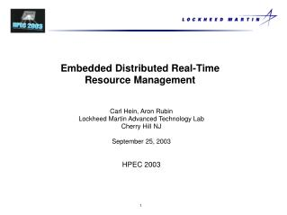 Embedded Distributed Real-Time Resource Management