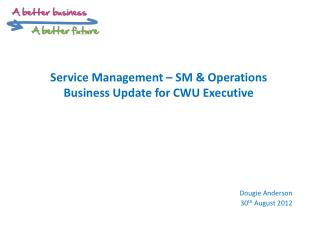 Service Management – SM & Operations B usiness Update for CWU Executive