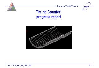 Timing Counter: progress report