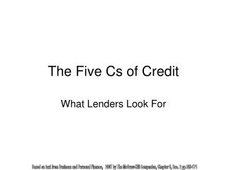 The Five Cs of Credit