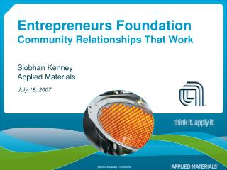 Entrepreneurs Foundation Community Relationships That Work