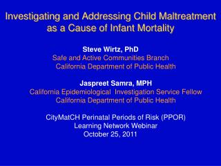 Investigating and Addressing Child Maltreatment as a Cause of Infant Mortality