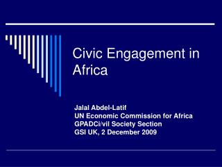 Civic Engagement in Africa