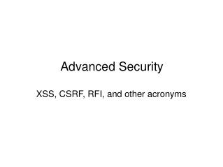 Advanced Security