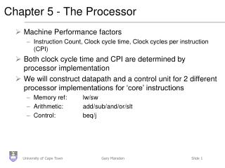 Chapter 5 - The Processor