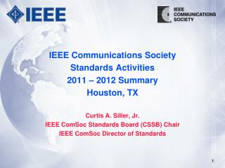 IEEE Communications Society  Standards Activities 2011 – 2012 Summary Houston, TX
