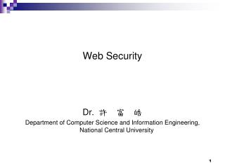 Web Security Dr. ?  ?  ?
