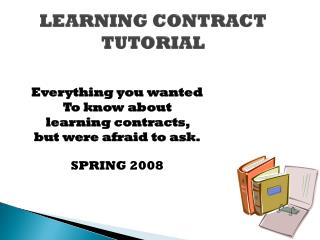 LEARNING CONTRACT  TUTORIAL