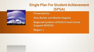 Single Plan For Student Achievement (SPSA)