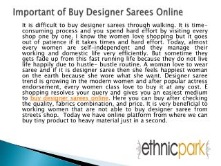 Important of Buy Designer Sarees Online
