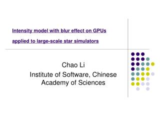 Intensity model with blur effect on GPUs  applied to large-scale star simulators