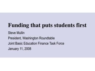 Funding that puts students first