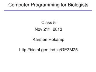 Computer Programming for Biologists