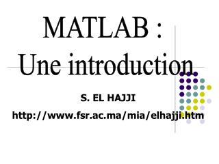 MATLAB :  Une introduction