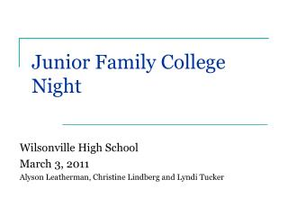 Junior Family College Night