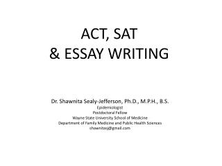 ACT, SAT & ESSAY WRITING