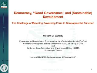 "Democracy, ""Good Governance"" and (Sustainable) Development"