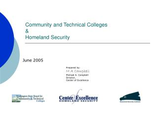 Community and Technical Colleges  &  Homeland Security