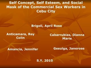 Self Concept, Self Esteem, and Social Mask of the Commercial Sex Workers in Cebu City