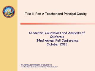 Title II, Part A Teacher and Principal Quality