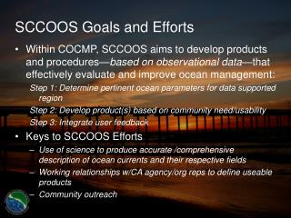 SCCOOS Goals and Efforts