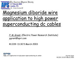 Magnesium diboride wire application to high power superconducting dc cables
