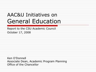 AAC&U Initiatives on General Education