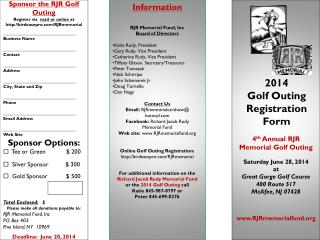 2014 Golf Outing Registration Form