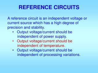 REFERENCE CIRCUITS