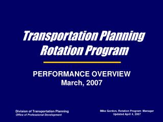Transportation Planning  Rotation Program